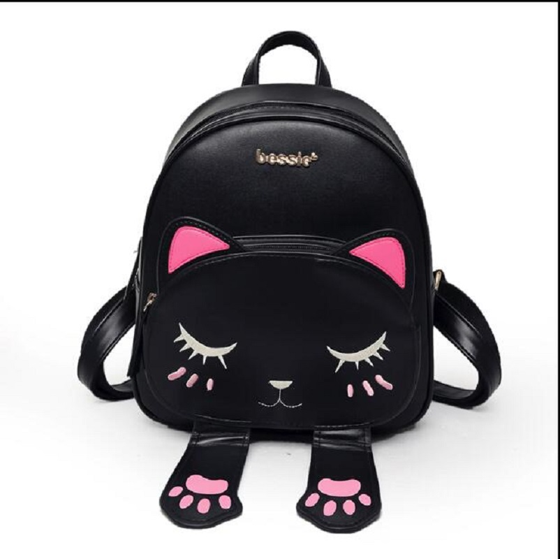 Women Cute Cat Girls Female Bag for Teenagers Cartoon Backpack sac Schoolbag Funny Cats Ears Canvas Shoulder Bags Female Mochila
