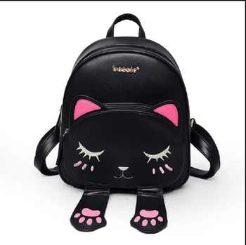 Women Cute Cat Girls Female Bag for Teenagers Cartoon Backpack sac Schoolbag Funny Cats Ears Canvas Shoulder Bags Female Mochila - DISCOUNT ITEM  19% OFF All Category