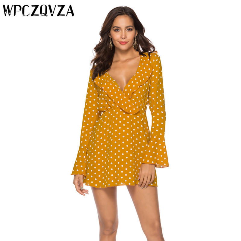 WPCZQVZA 2019 Sexy Fashion Women Dress Spring Long Sleeve Dot Chiffon Slim Woman Simple Comfortable V neck Dresses vestidos in Dresses from Women 39 s Clothing