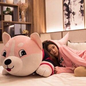 Image 2 - 1PC 80 120cm Nette Plüsch Big Husky Hund Tier Spielzeug Puppen Plüsch Kissen Kissen Baby Kinder geburtstag Geschenke Hause Dekoration