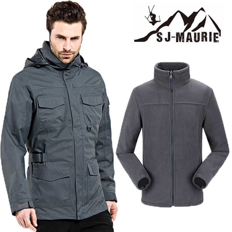 3IN1 Heren Winter Jas Outdoor Wandelen Jas polaire militaire Thermische Warm Klimmen Trekking Softshell Jas Waterdicht S-3XL