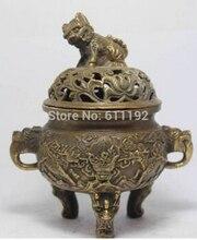 Copper Brass craft Chinese hand-Carved Kirin sculpture antiques old copper incense burner