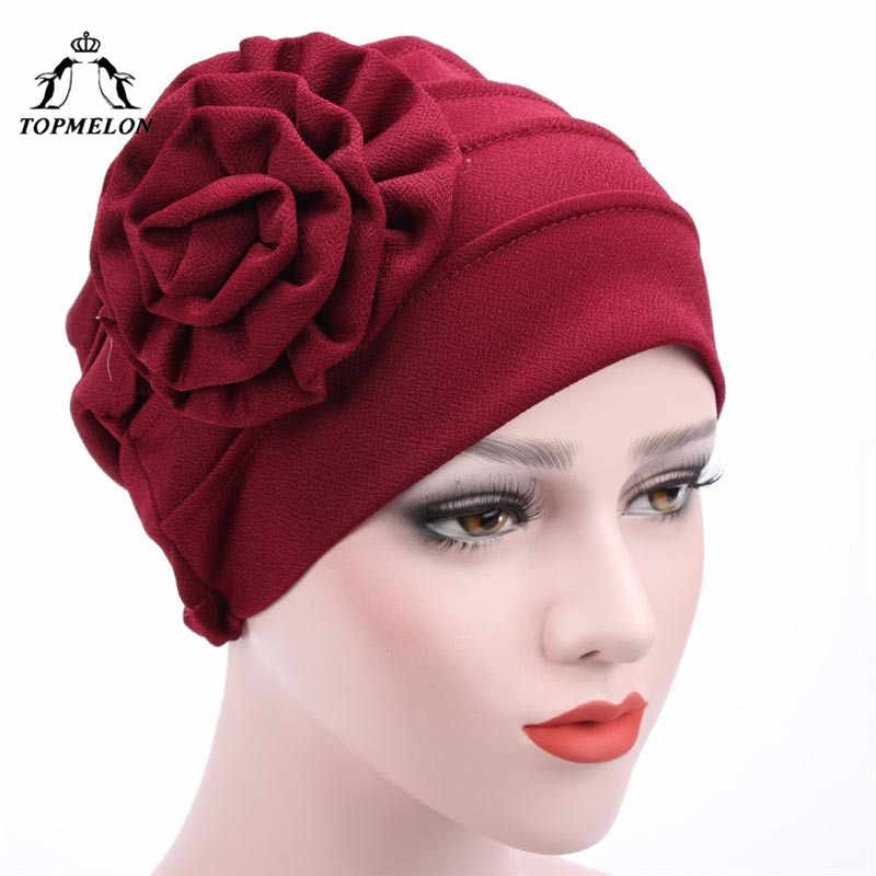 2ee0e1cf42a TOPMELON Muslim Cap Islamic Style Hat Female Fashion Arab Saudi Dubai Beanie  Flower Pattern Hats Black
