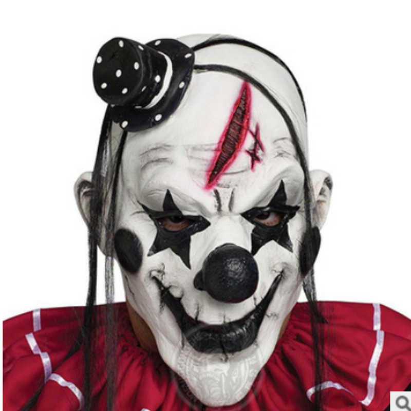 Deluxe Scary Clown Mask Adult Latex White Hair Halloween Clown Horror Evil Killer