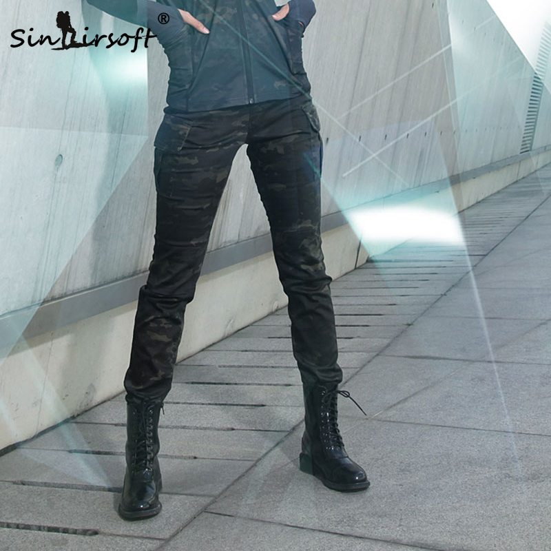 SINAIRSOFT 女性迷彩ハンティングパンツ戦術エアガン屋外撮影ズボン弾性綿マルチポケットパンツ LY2004  グループ上の スポーツ & エンターテイメント からの ハイキング パンツ の中 1