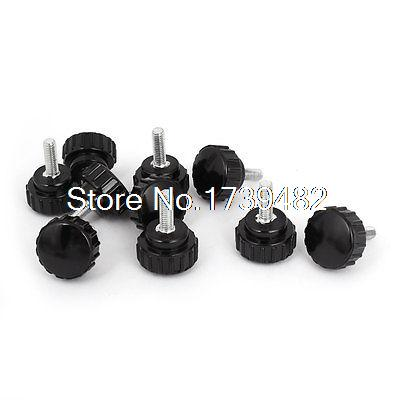 Lathe M5 x 22mm x 15mm Black Round Head Thumbscrew Knurled Knobs 10 Pcs блок питания пк chieftec aps 650sb 650w aps 650sb
