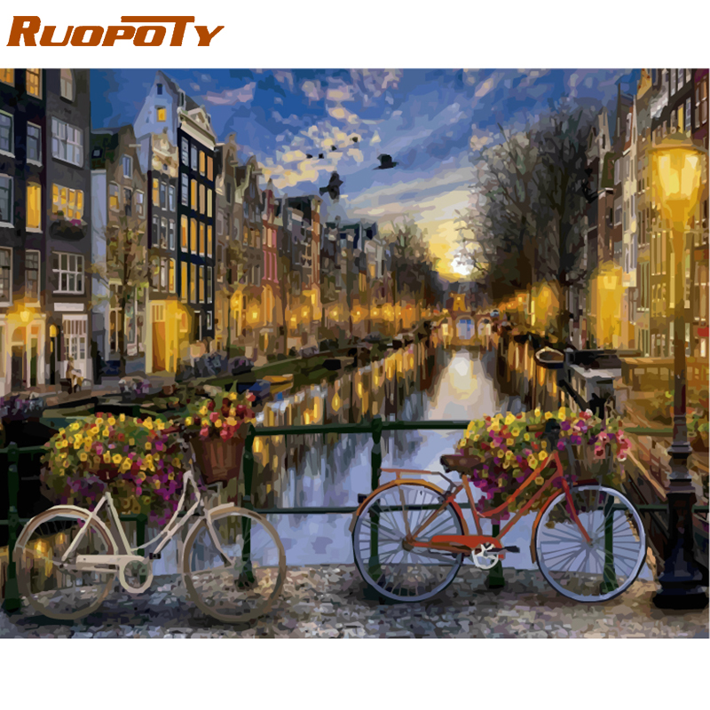 RUOPOTY Frame Amsterdam DIY Oil Painting By Number Landscape Calligraphy Painting Acrylic Paint On Canvas For Home Decor Artwork