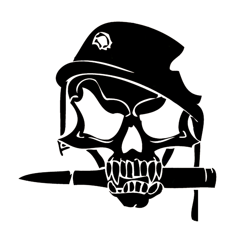 14.8cm*15cm Army Skull Bullet In Military Helmet With Shot Hole Vinyl Decal Car Sticker S6-3210 Стикер
