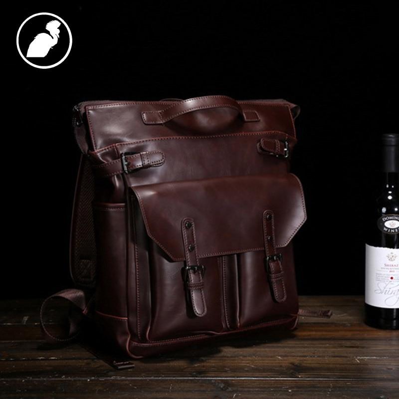ETONWEAG Brands PU Leather School Backpacks For Boys Brown Vintage School Bags For Teenagers Travel Laptop Bag Back To School