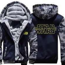 men 2019 new wool liner winter warm coats fashion star war jackets Camouflage sleeve plus size sweatshirts male brand tracksuits