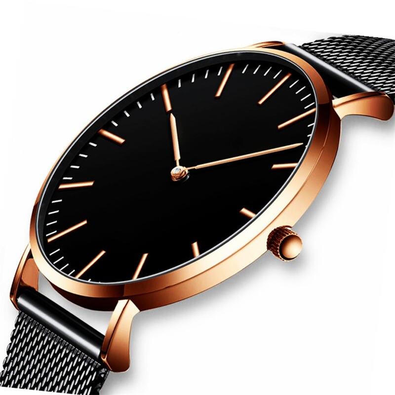 Ctpor Men's Watch Ultra-thin Men Watches Top Good Quality Stainless Steel Black Gold Watch Male Quartz Clock 30M Waterproof DW