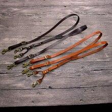 Bretelles Vintage en cuir véritable pour hommes, avec crochet, Style britannique, réglable, unisexe, sangle, sur lépaule, pantalon