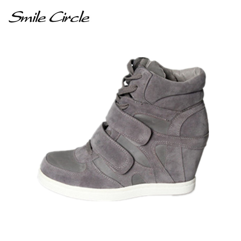 Smile Circle Women Sneakers Wedge Lace Up Suede High Top Sneakers Women 65Cm High -8750