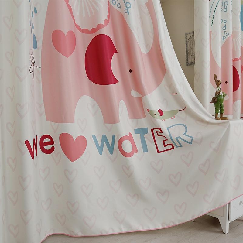 Custom Made 2pc Grommet Drapery Drape Curtain Nursery Kids Children Room Window Dressing 200 x 260cm Cartoon Pink Elephant Water