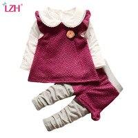 Baby Girls Clothes Sets Cute Cartoon Long Sleeved T Shirt Polka Dot Pants Kids Skirts Suit