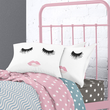 White 2 Sided Printed Eyelash Pillow Case,20×30″ 50*76cm Couple Pillow Covers,Funny Lashes Pillow Cases Girls Bedding