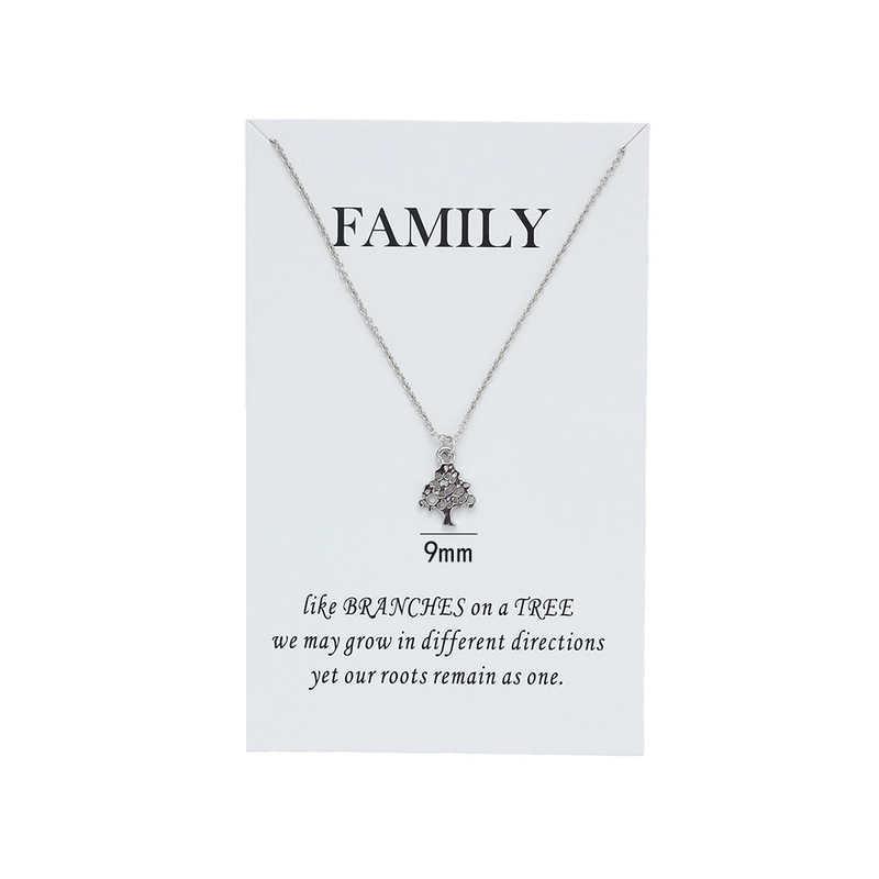 Berharap Kartu Keluarga Hollow Kehidupan Pohon Kalung untuk Wanita Liontin Emas Perak Perhiasan Persahabatan Hadiah dengan Kartu Perhiasan CN79
