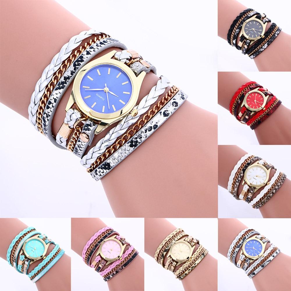Quartz Watches Women Gold Bracelet Wristwatch Bohemian Style Fashion Weave Leather Bracelet Lady Womans Wrist Watch dropshipping popular brand watch women gold bracelet weave leather