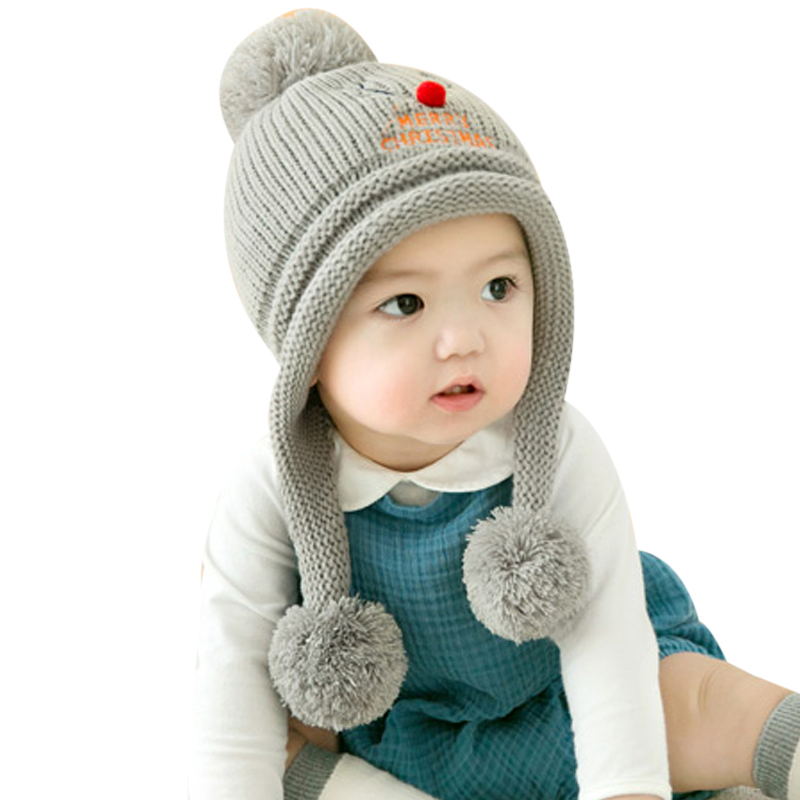 Kids Winter Hat Merry Christmas Baby Knitted Crochet Deer Hats Enfant Double Pom Pom Beanie Hat Boy Girl Warm Kids Cap