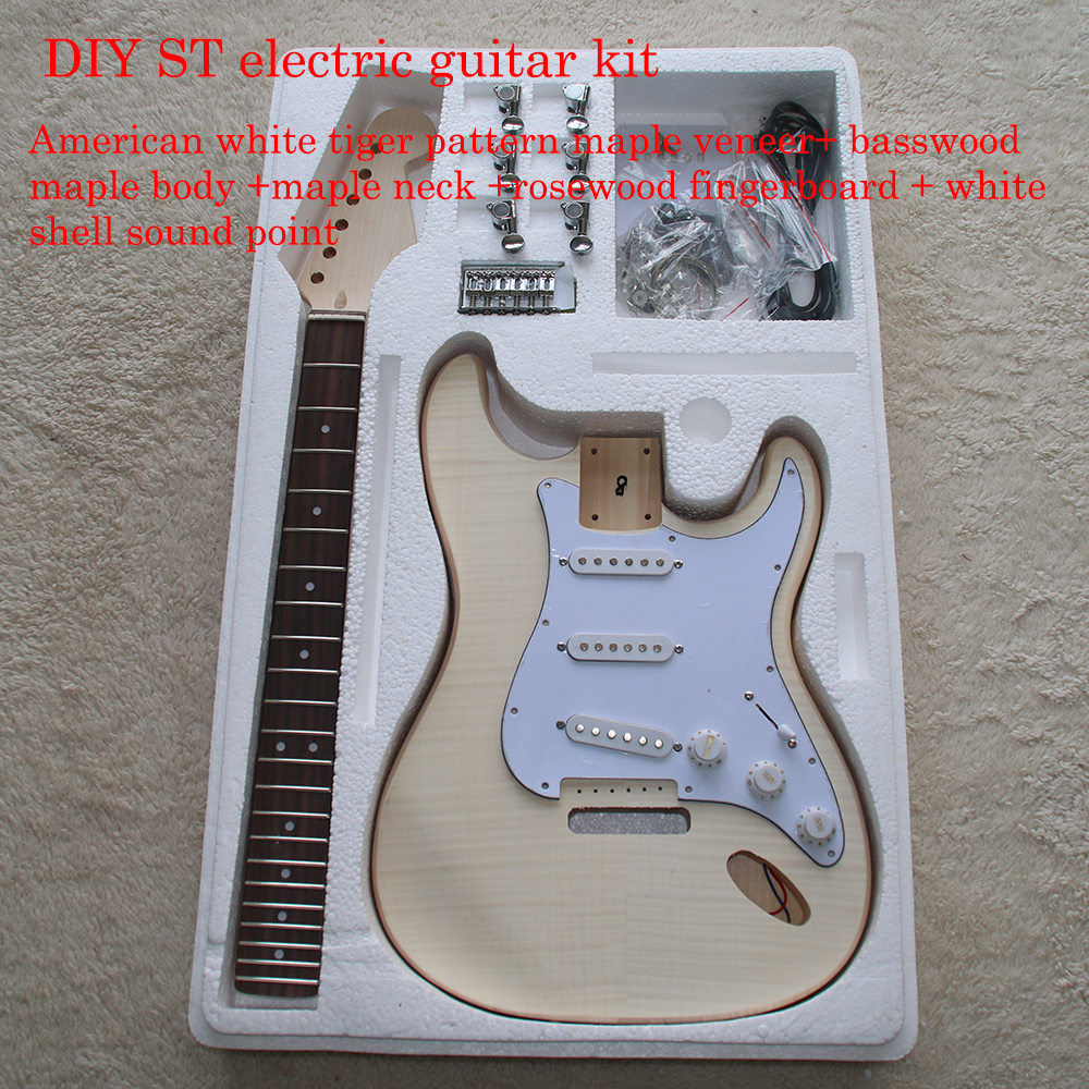 ST Style Electric Guitar DIY Kit Set Guitarra Durable Basswood Body Maple Fingerboard Maple Neck With Guitar Accessories free shipping semi hollow body aaaaa quilted maple top gold hardware jazz es 335 345 electric guitar guitarra all color accept
