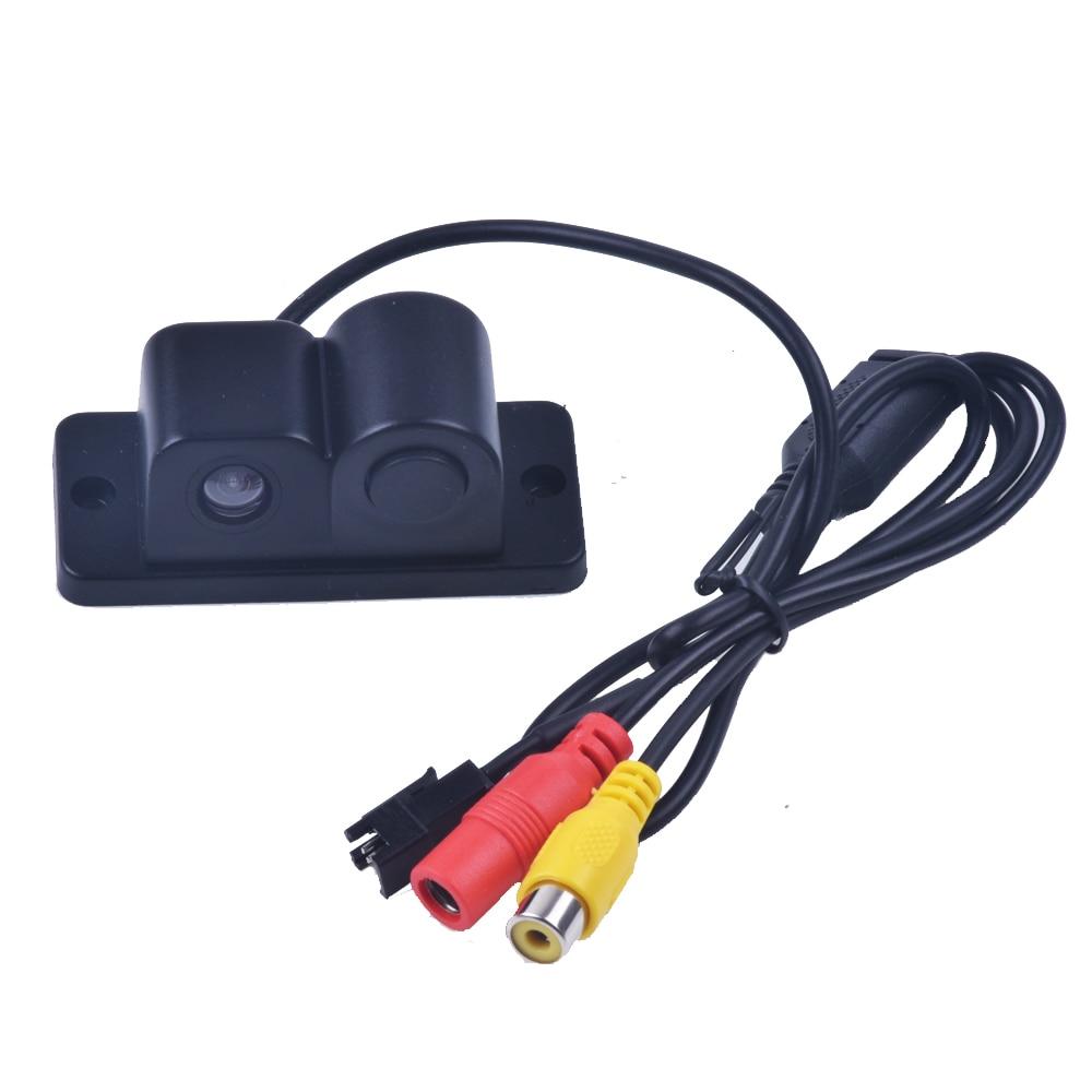 Nový 2 v 1 LED zvuková signalizace automobilu Reverzní záložní video Parkovací senzor radarový systém s CCD zadní pohled Parking Camera