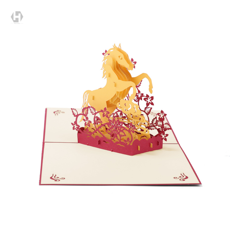 3d Pop Up Greeting Card Symbol Of Success Horse Laser Cutting