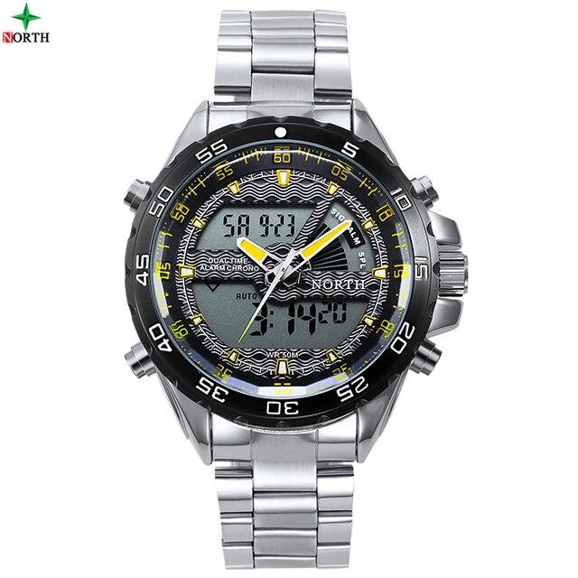 Reloj de Pulsera Digital LED Reloj Para Hombre Marca de Lujo de Moda DEL NORTE Hombres Deporte de Hombres Reloj de Cuarzo de Acero Inoxidable A Prueba de agua