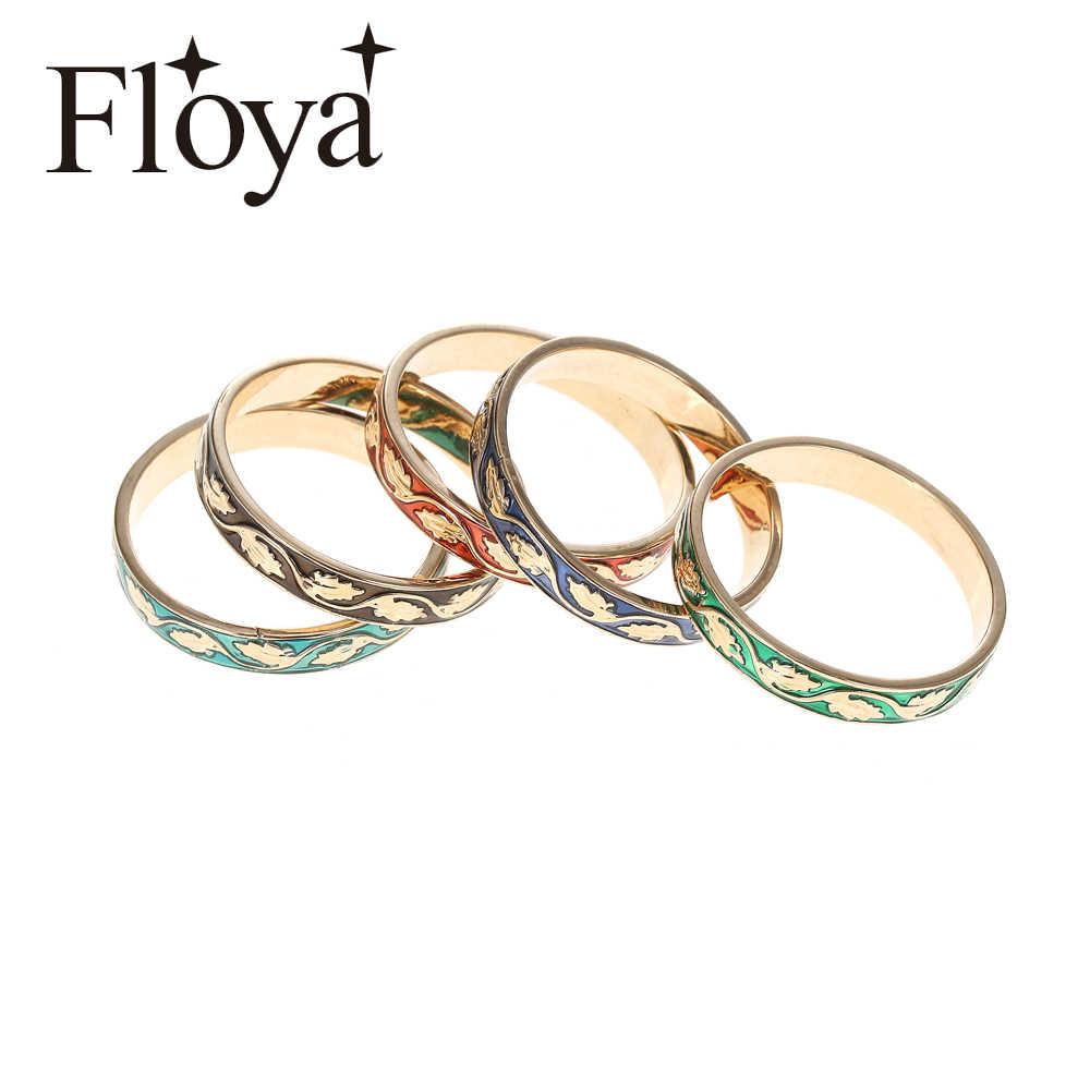 Floya Leaf สีเขียวเคลือบด้านในแหวนซ้อนกันได้ทองแดงผู้หญิง Gold Filled แหวน 4 มม.เปลี่ยนได้ส่วนบุคคลผสม Band