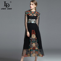Vintage Long Dress Women S Long Sleeve Sexy Tulle Mesh Floral Embroidery Black Retro Mid Calf