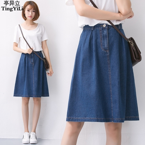 4444b1ff5d57 TingYiLi School Girl Denim Skirt Summer Blue High Waist A Line Knee Length  Skirt Ladies Jeans