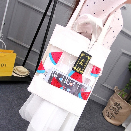 2017 Hot New Fashion Women Female Korean Fruit Bag Soft Translucent Student Bag Stitching Canvas Shopping Bags Shoulder Bags