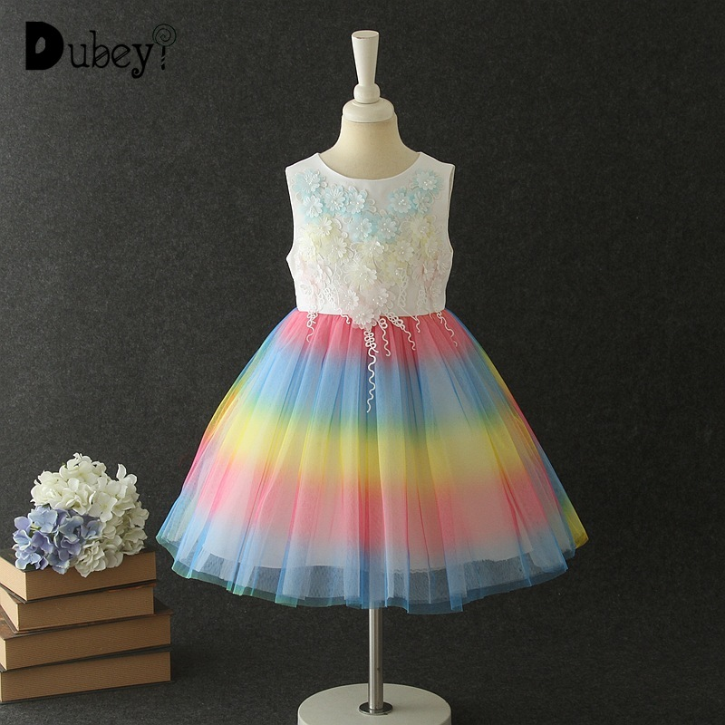 New Rainbow Color Sleeveless Princess Dress Summer Flower Girl Elegant Colorful Ball Gown for Party and WeddingNew Rainbow Color Sleeveless Princess Dress Summer Flower Girl Elegant Colorful Ball Gown for Party and Wedding