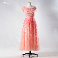RSE705 Luxurious Hand Made Flowers Peach Floral Heavy Beaded Crystal Prom Dresses 2016