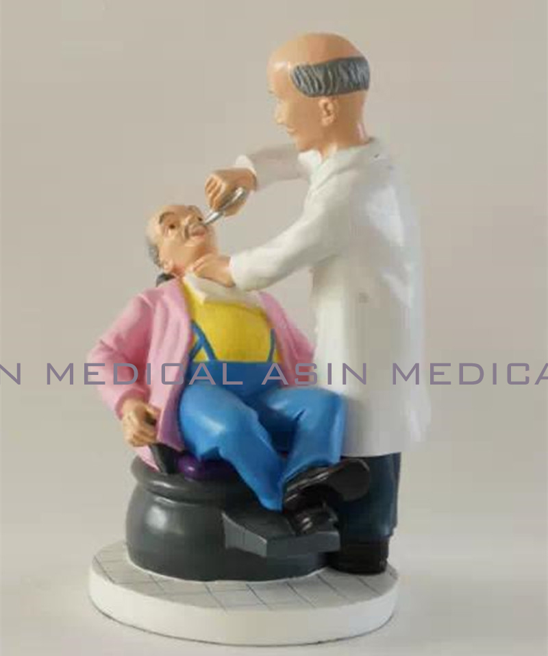 Dental cartoon character model Couple Sculpture patient and dentist made of resin