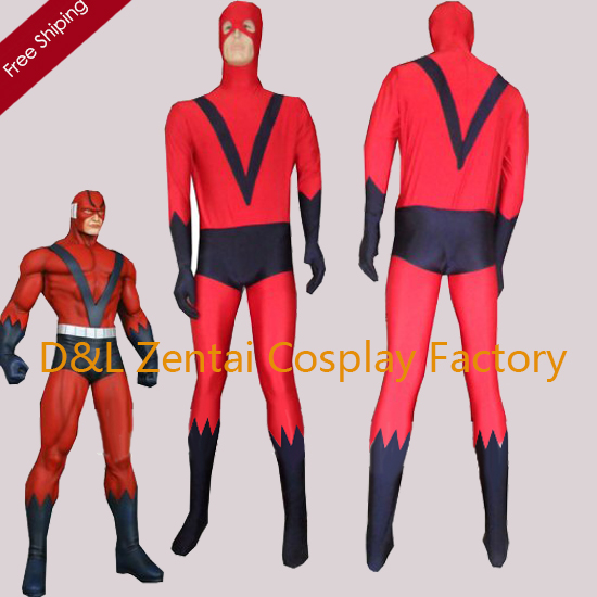 Free Shipping DHL 2016 Giant-Man Red & Blue Spandex Zentai Superhero Costume For Halloween Party DC1647