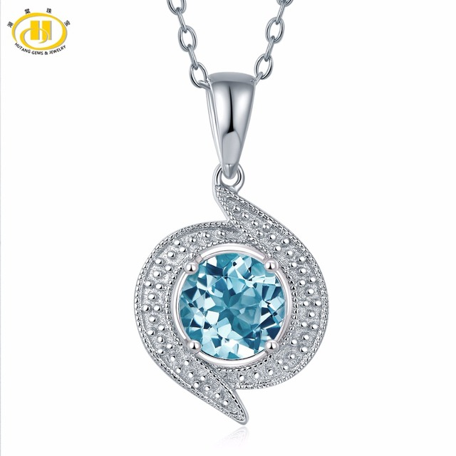 Fine Jewelry Womens Blue Topaz Sterling Silver Pendant Necklace pZCnAwi