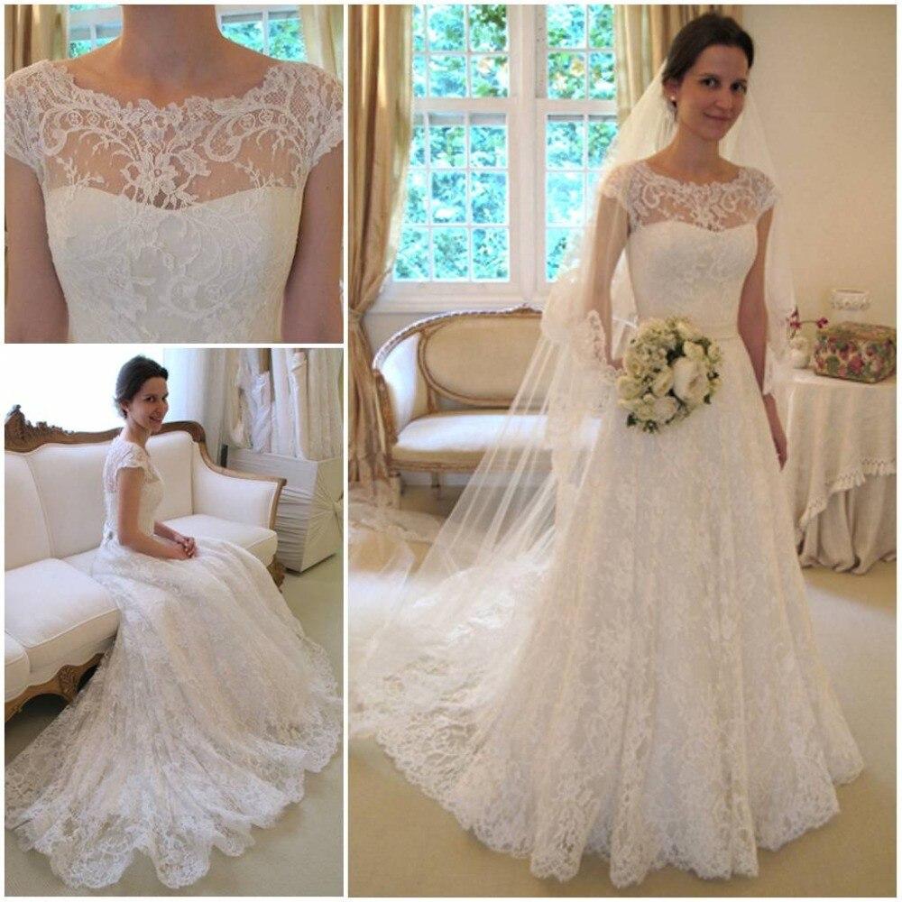 03f6e94a63 Excelente se casó con vestido de novia de encaje del cabo manga corta manga  casera banco cuenta con vestido de novia de gasa matrimonio casado KL54 en  ...