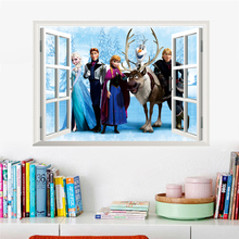 Cartoon Olaf Sven Kristoff Hans Elsa Anna 3d Window Wall Stickers Home Decoration Anime Movie Frozen Mural Art Kids Room Decals