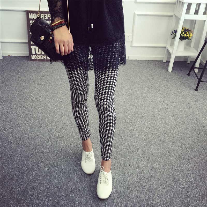 BIVIGAOS Spring Summer Womens Fashion Black Milk Thin Stretch leggings Colored Stars Graffiti Slim Skinny Leggings Pants Female 71