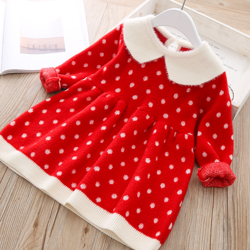 Newborn Girls warm Dress Cute autumn winter New Baby Knitted Clothes Infant Toddler Tops Shirts for girl wool Christmas Dresses