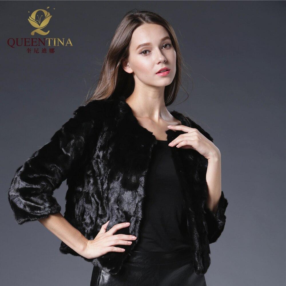 2018 սև բնօրինակ խոզանակ մորթյա - Կանացի հագուստ - Լուսանկար 4