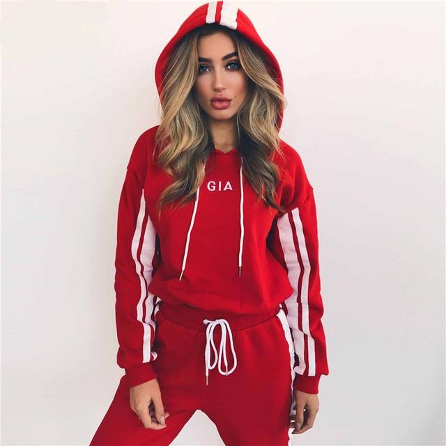 Women's suits 2018 Autumn 2 Piece Set Women Tracksuit Sportswear Casual White Red Sweat Pants Hooded Cropped Sweatshirt Hoodie 2