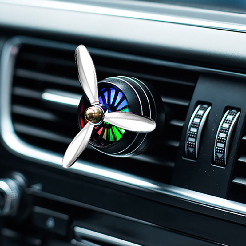 Car Perfume Diffuser Air Freshener LED Light Air Force 3 Vent Outlet Clip Automobiles Decor Propeller Fragrance Smell Ornament car outlet perfume air freshener with thermometer lime