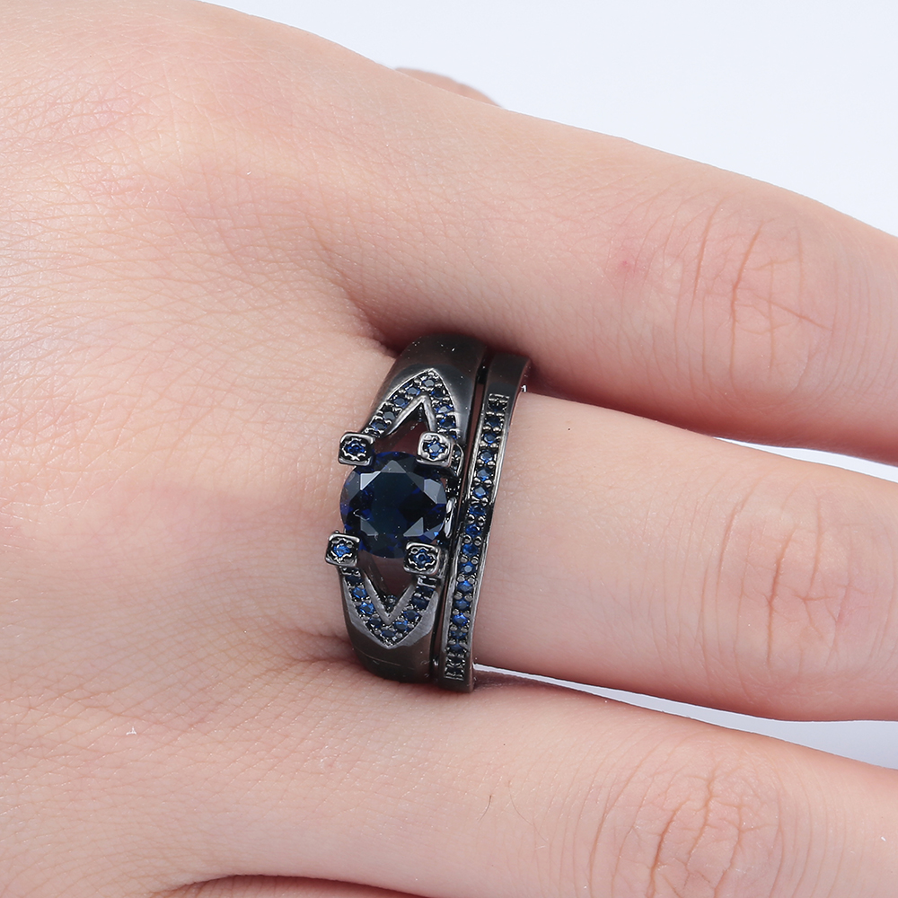 luxury black gun promise Rings sets for wedding new women jewelry ...