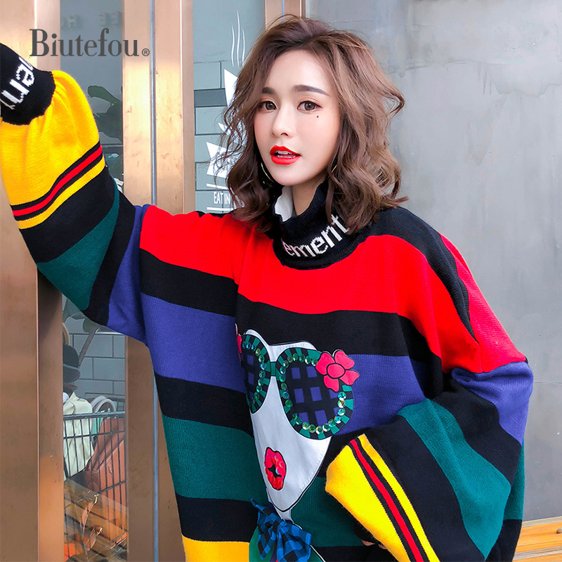 2020 Spring Rainbow Stripes Loose Plus Size Sweaters Women Fashion Puff Sleeve Turtleneck Knitted Sweaters