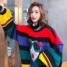 2020 sonbahar gökkuşağı çizgili gevşek artı boyutu kazak kadın moda puf kollu balıkçı yaka örme kazak