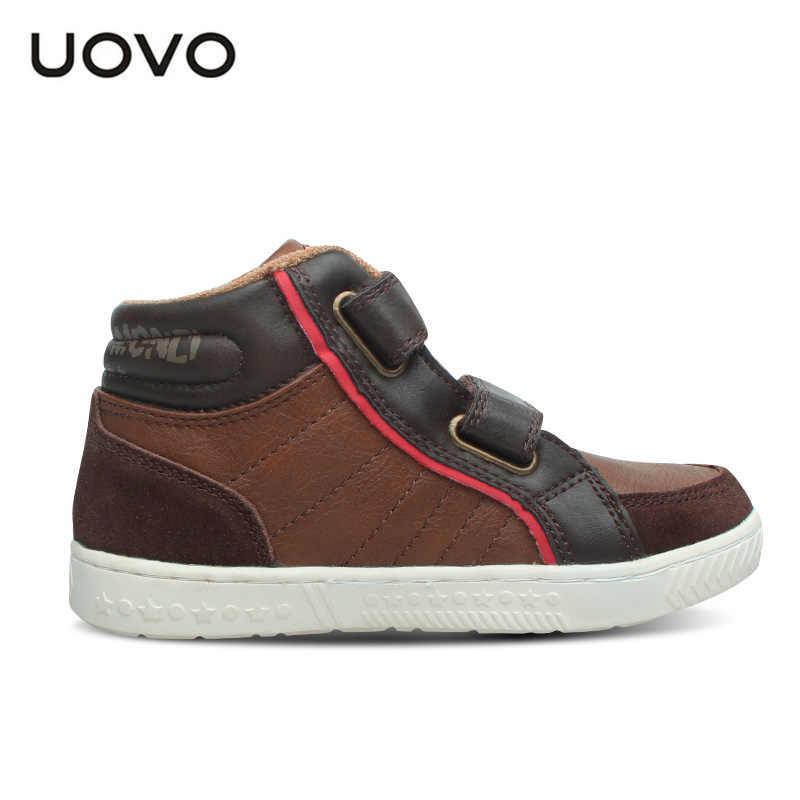 UOVO ฤดูใบไม้ผลิและฤดูใบไม้ร่วงเด็กรองเท้ารองเท้าผ้าใบ Mid - Cut แฟชั่นเด็กรองเท้ารองเท้าเด็กขนาด #27-37