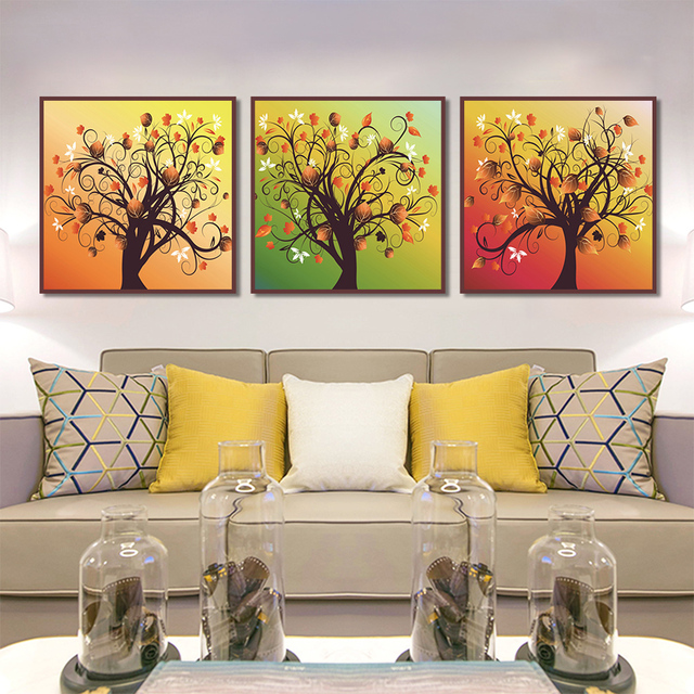 unframed multiple pieces hd canvas painting abstract color dry tree