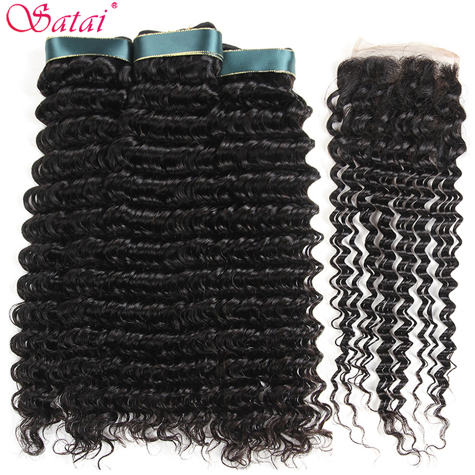 Satai Deep Wave 3 Bundles With Closure 100 Human Hair Bundles With Closure Brazilian Hair Weave