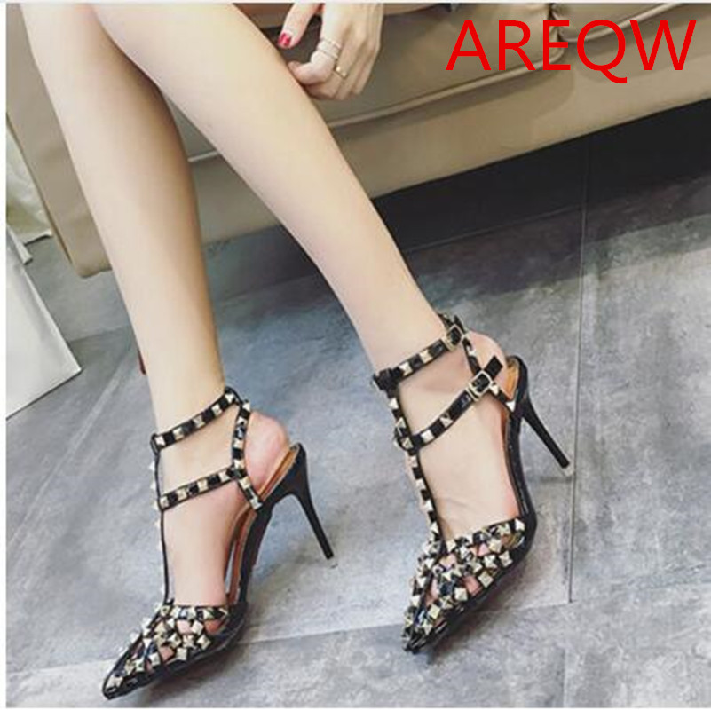 AREQW Brand Fashion Rivet Pointed Toe Gladiator Sandals Women High Heels Pu Women Shoes With Heels Sexy Wedding Shoes Woman 9cm fashion buttons rivet studs high heels designer gladiator sandals red black women pumps party dress sexy wedding shoes woman
